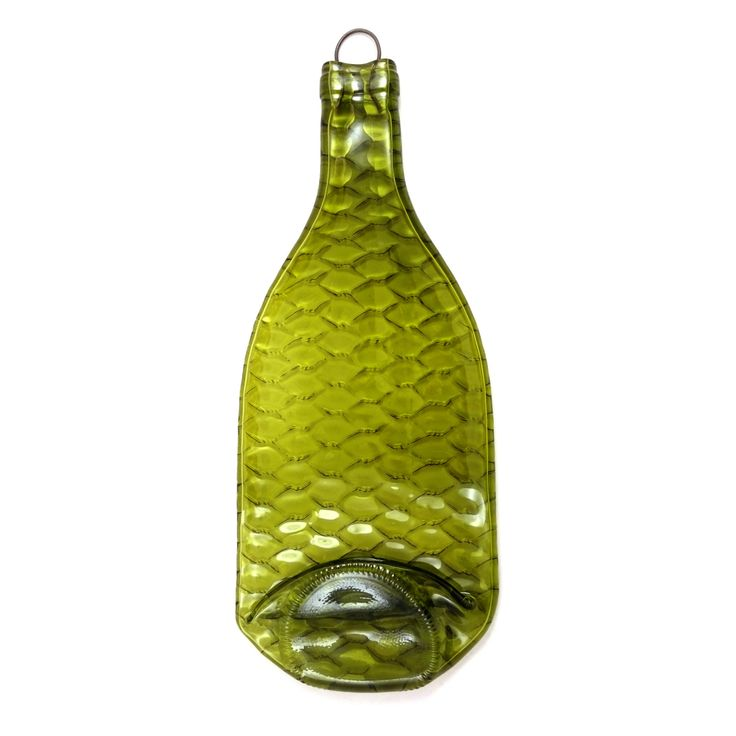 Hanging small fish scale slumped wine bottle decoration - Perfect addition to a man cave.