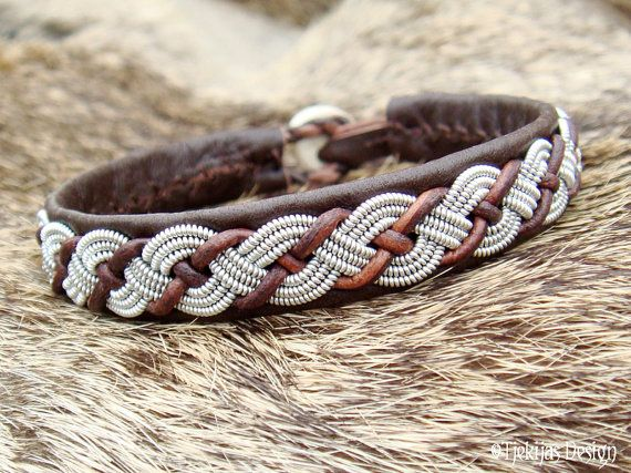 • $50 • Sami Lapland VALHAL Reindeer Leather Bracelet Cuff Womens and Mens Bracelet in Antique Brown with Braided Spun Pewter and Leather Cord