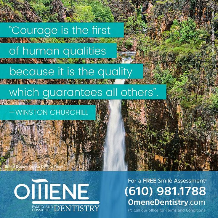 """Quote of the Week – """"Courage is the first of human qualities because it is the quality which guarantees all others"""". —Winston Churchill / For a Free Smile Assessment*, please call (610) 981-1788 - www.omenedentistry.com / (*) Please call our office for Terms & Conditions. #SmileDocs #SmileDeals #dental #practice #confidence #cosmetic #job #paoli #pennsylvania #tmj #services #implant #dentistry #invisalign #zoom #whitening #dentalcare #dentalfiller #preventive #dentist #oral #teeth #smile…"""