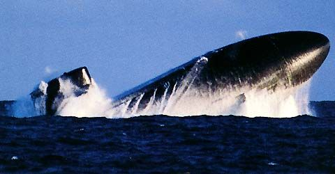 USS Buffalo surfacing from the depths of the Pacific Ocean