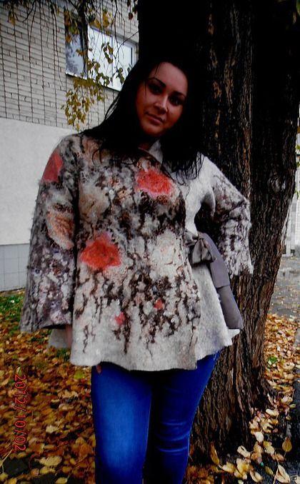 """Верхняя одежда ручной работы. Валяное пальто """"Кошачья нежность"""". Светлана Тимофеева. Ярмарка Мастеров. Единственный экземпляр, большие размеры"""