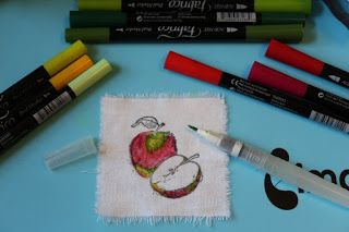 Ink Stains - Watercoloring with Fabrico Markers on fabric. #imaginecrafts #fabricomarkers #watercolor #rubberstamping #justforfunrubberstamps