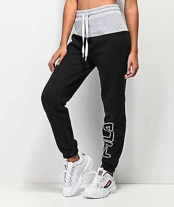 0e82b4649af90e FILA Mara Black & Grey Jogger Sweatpants | wish list in 2019 ...