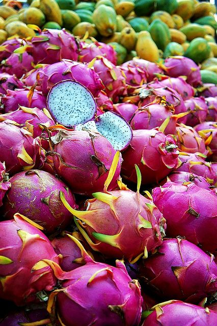 Harvested pitaya (dragon fruit) at the market in Saint-Denis, Reunion Island (in the Indian Ocean, east of Madagascar).