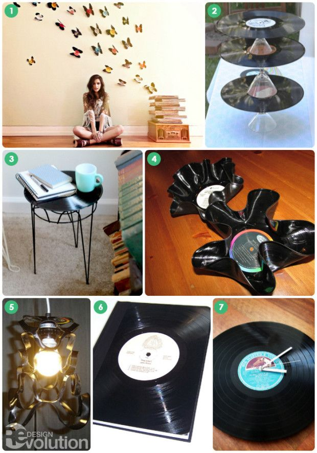 Vinyl butterflys, bowls, cake stands, side tables, lampshades, clocks + books! // #DIY Thursday: Upcycled Vinyl Record Crafts for World Record Store Day