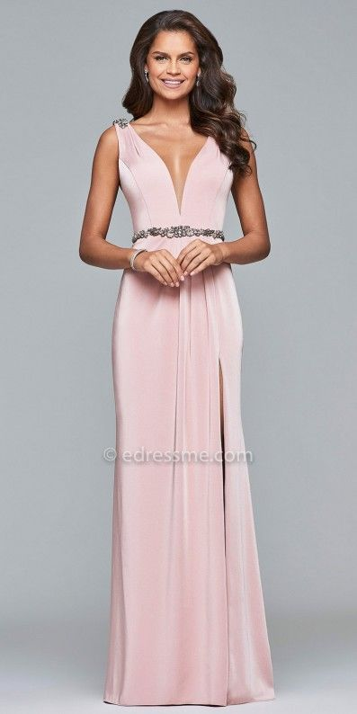 Channel your inner goddess and exude perfection in the stunning Satin Plunging Beaded Column Evening Dress by Faviana. This show stopping look features a plunging v-shape neckline, a matching v-shape back, a beaded waistline and a column silhouette with a thigh high slit. #edressme