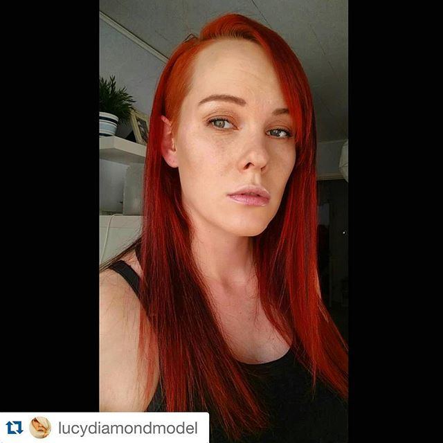 """#Repost @lucydiamondmodel ・・・ #selfiesaturday  God  I just love my long #redhair <3 It's gonna get even longer soon though... ;) Dyed it yesterday with Herman's amazing haircolour """"Bloody Mary"""" #selfie #redhead #greeneyes #longhair #saturday #igers #lucydiamond #finnish #finland #finnishgirl #altmodel #alternativemodel #followme #nofilter #theamd #thealternativemodeldirectory #hermansamazing #hermansamazinghaircolor #bloodymary #cybershop #vegan #unique #hermansprofessional…"""