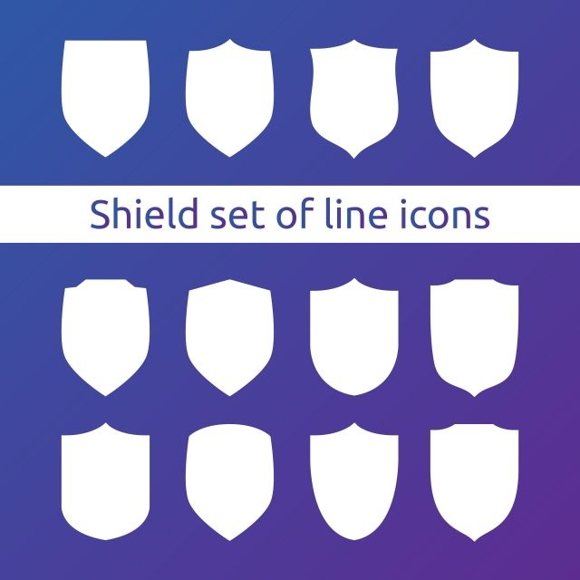 Shield Logo Symbol Icon Set With Outline Line Style Vector Illustration Template Concept For Security Vpn Protection Verified Warranty Icons Converter Icons Dc Icons Icon Parking Coin Icon