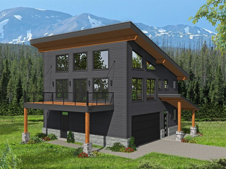062g 0205 Two Bedroom Carriage House Plan In 2020 Modern Style House Plans Carriage House Plans Modern House Plans
