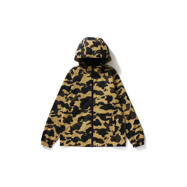 Bape Camo Jacket ❤ liked on Polyvore featuring outerwear, jackets, camoflage jacket, camoflauge jacket, a bathing ape, camo print jacket and camo jacket