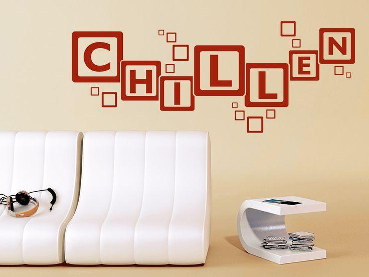 Stunning Chillen mit Retro Quadraten Chill Wandtattoo Chillen