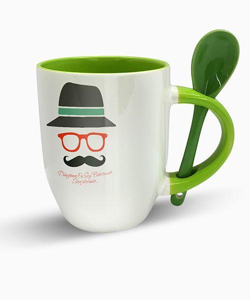 Kişiye Özel Renkli Kaşıklı Kupa (Babalar Günü Temalı) Yeşil