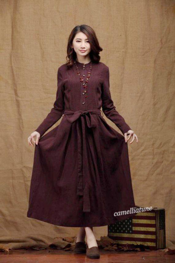Linen Winter Dress in purple / Long Pleated Dress by camelliatune, $99.00