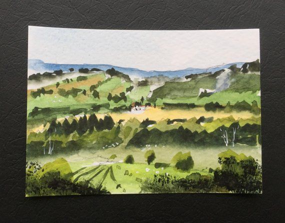 Landscape Original Miniature Watercolour Painting Aceo Fields Hills English Countryside For Him For Her Home Decor Wall Art Landscape Painting Watercolor