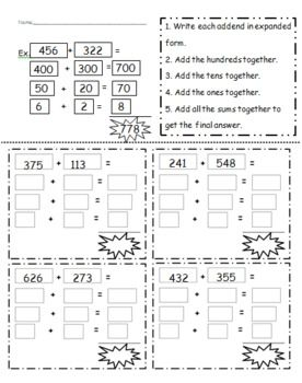 Students practice adding two three-digit numbers by splitting each addend into expanded form and adding each place value together followed by putting the expanded form back into the base ten numeral (standard form).   These are all problems without regrouping.