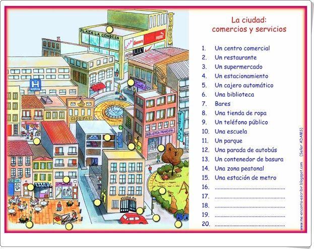 La ciudad: comercios y servicios (Lámina de me-encanta-escribir.blogspot.com.es)