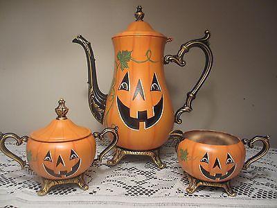 Halloween jack-o-lantern pumpkins ~ painted silver plated coffee pit, creamer, & sugar