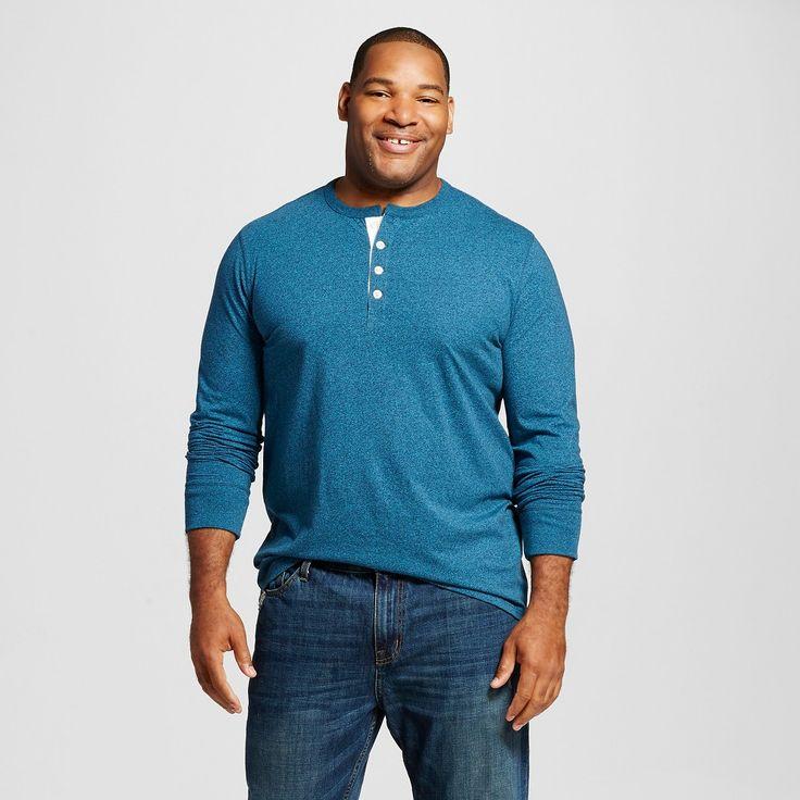 Men's Big & Tall Solid Long Sleeve Henley - Merona, Size: Xxl Tall, Underseas Teal