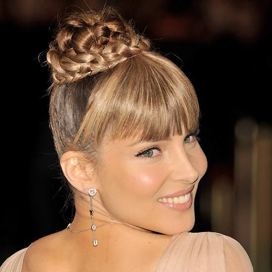 High braided bun + Bangs
