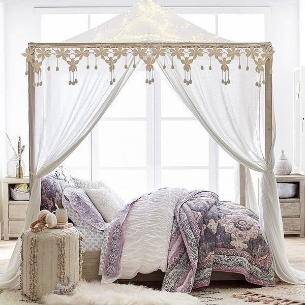 PB Teen Costa Canopy Bed and Wide Dresser Set, Full, Weathered White ($2,295) ❤ liked on Polyvore featuring home, furniture, beds, white queen canopy bed, queen furniture, distressed white furniture, handmade furniture and queen bed