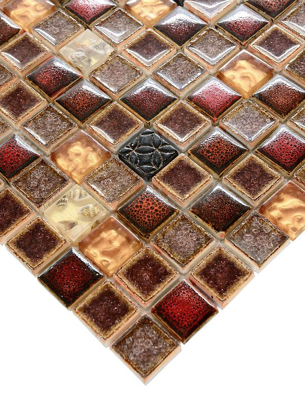 2x2 red beige glass ceramic backsplash tile is gorgeous, smooth mosaic for your backsplash, shower or interior walls ideas.