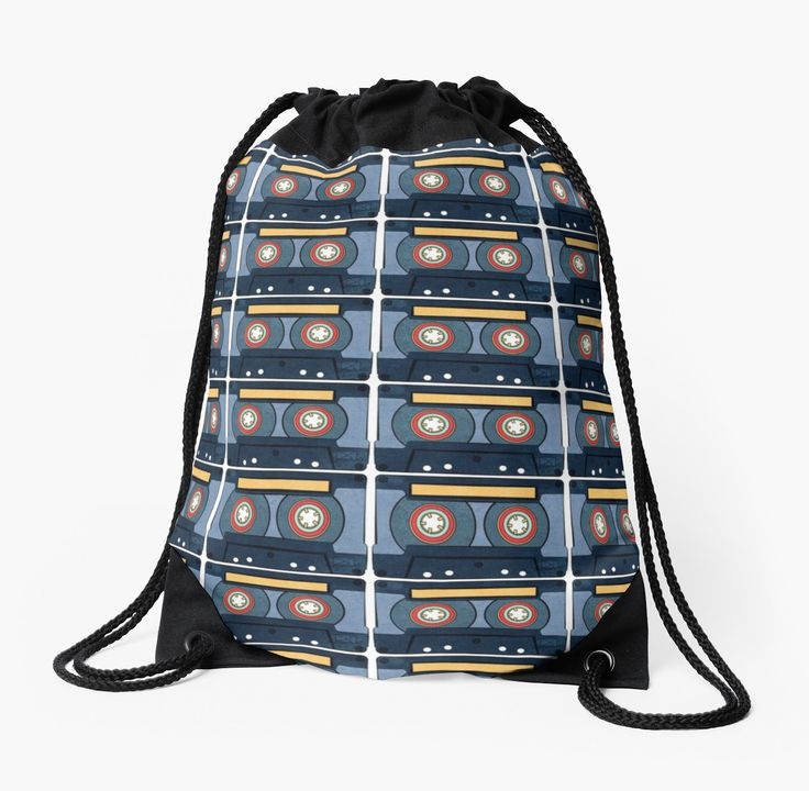Blue Cassette Tape Drawstrong Bags by AnMGoug on Redbubble. #cassette #cassettetape #bag #drawstring