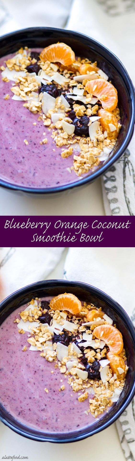 This sweet blueberry orange coconut smoothie bowl is perfect for breakfast, brunch, or afternoon snack. It's pretty much a bowl of Heaven. Plus, it's dairy-free, gluten-free, and vegan! #ad