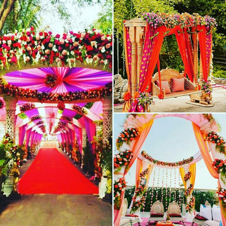 Custom made for destination weddings, this #mandap decoration is perfect to get married and remember it for a lifetime! Adorned with Roses, Carnations and orchids, this colorful setting will be just like that page from your dreams. #InspiredWeddingDecor #Kanpur
