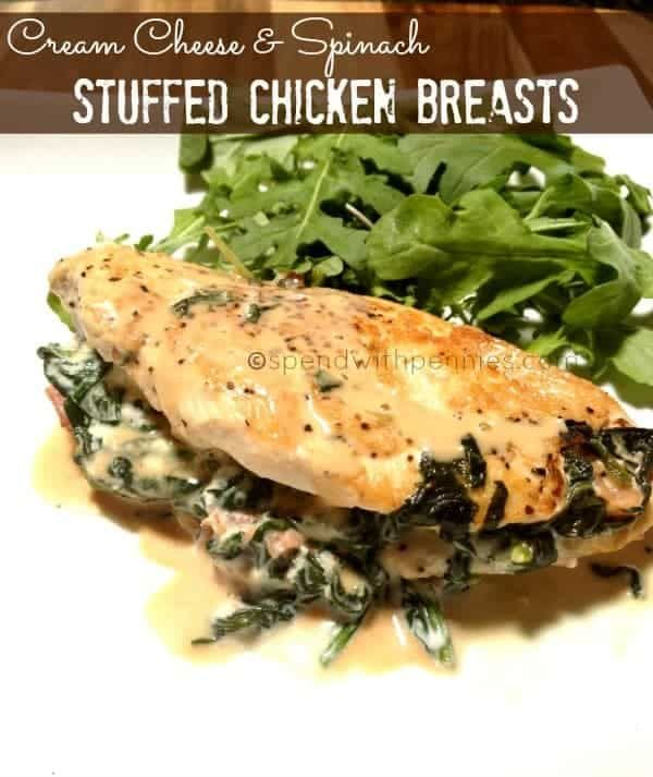 Stove Top Cream Cheese & Spinach Stuffed Chicken Breasts