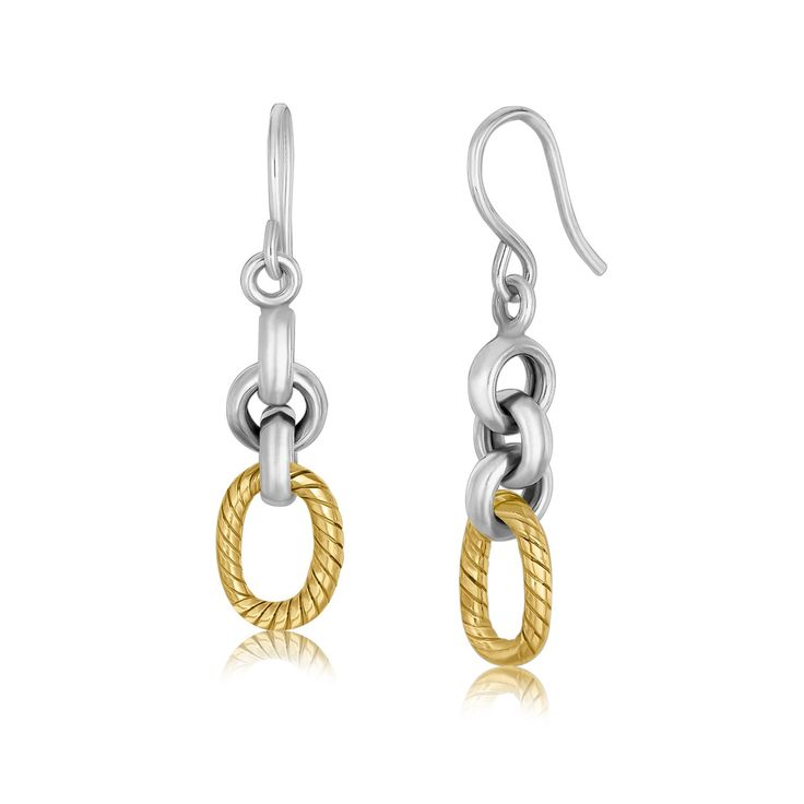 18K Yellow Gold and Sterling Silver Round Cable Style Link Dangling Earrings