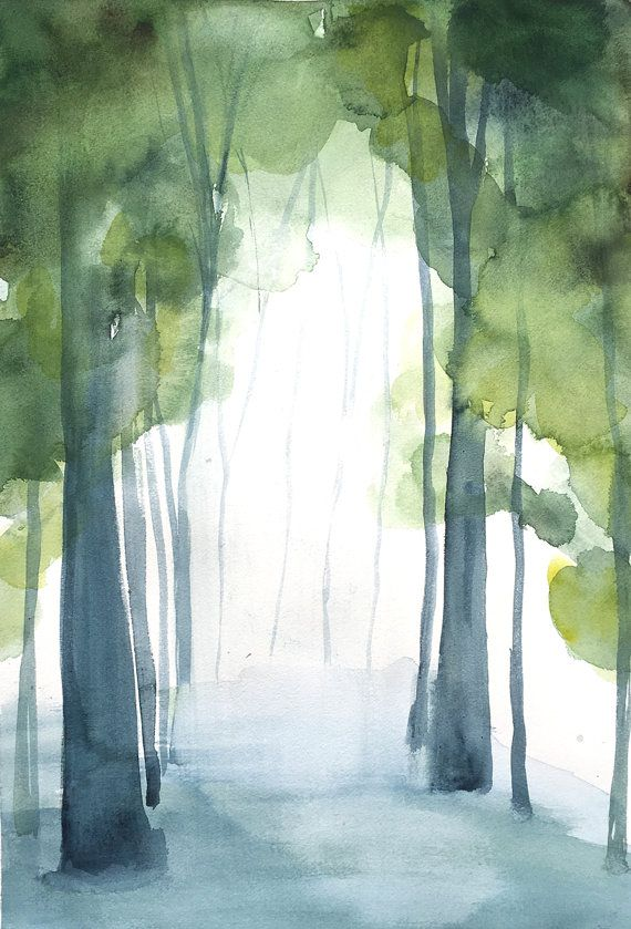 50% Off SALE - Landscape Painting - Grove I - Watercolor - 11x14 Giclee Print of Original Painting - Landscape with Green Trees - Birch T...