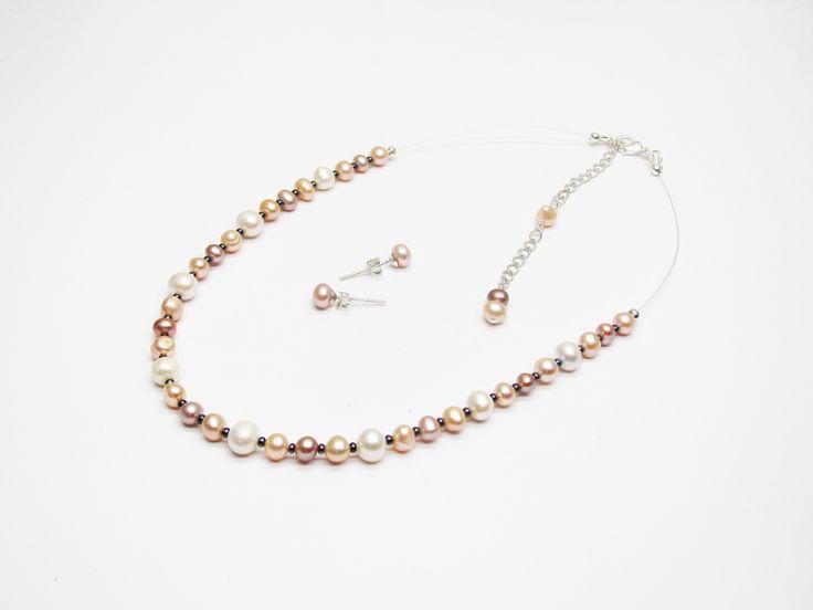 Parure mariage perles de culture d'eau douce collier ras du cou et boucles d'oreilles : Parure par murielcrea