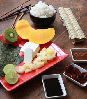 Recetas para hacer sushi-SUSHI FRUTAL CON SALSA DE TAMARINDO