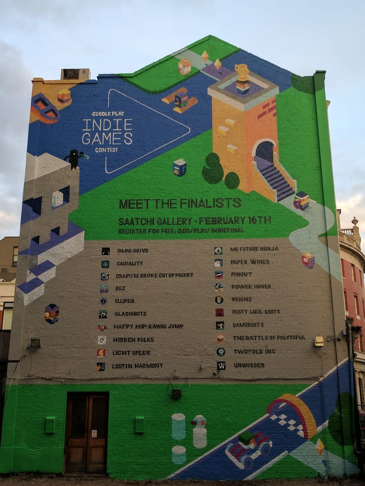 The finalists for the Google Play Indie Games Contest painted on the side of a building in London. (Crap! I'm Broke is among them!)  The exhibition is at the Saatchi Gallery in London on Feb 16th 2017 at 3pm. Entry is free, so be sure to drop past and play the finalist games if you're in town!