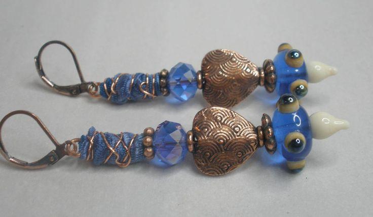 Lampwork and bali style copper, artisan earrings, SRA artist, lampwork jewelry, dangle & drop earrings, handmade, art glass jewelry, for her by ArtandSoulStudios on Etsy