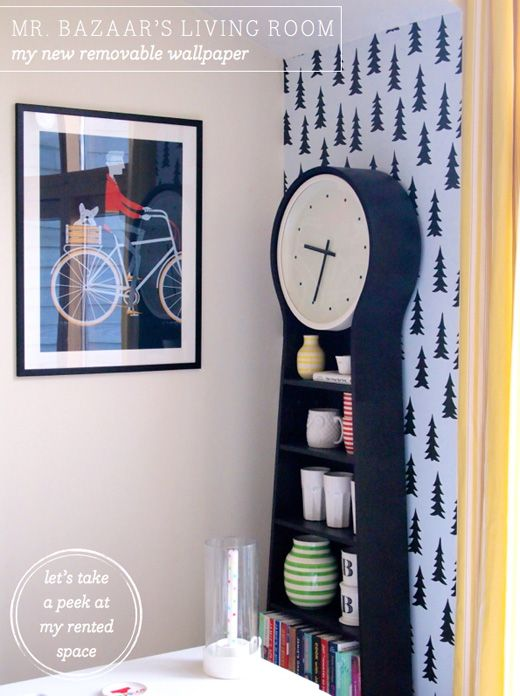 My Living Room A Wallpaper Idea For Rentals Bikes Ikea Ps And Clock