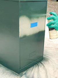 metal file cabinet. spray paint it.