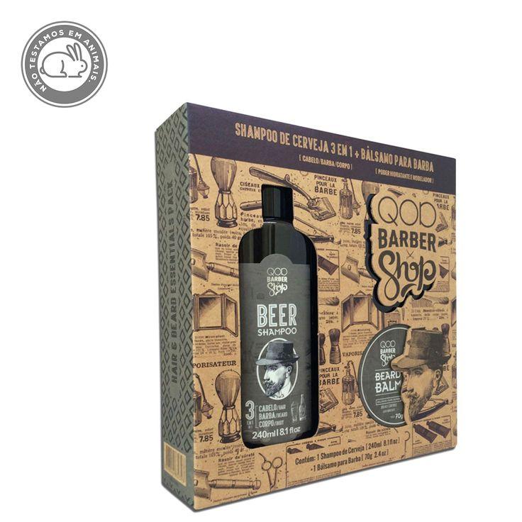 Kit QOD Barber Shop Shampoo de Cerveja 3 em 1 + Bálsamo