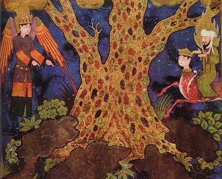Muhammad with Gabriel before the jewelled tree of paradise