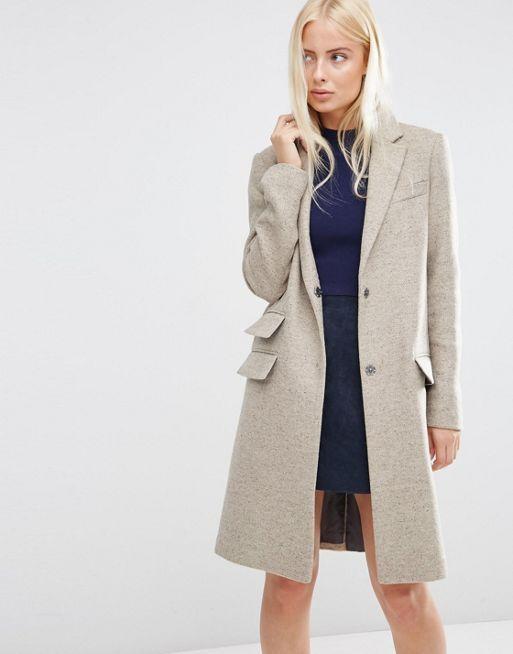 Manteau slim en laine mélangée à poche fantaisie