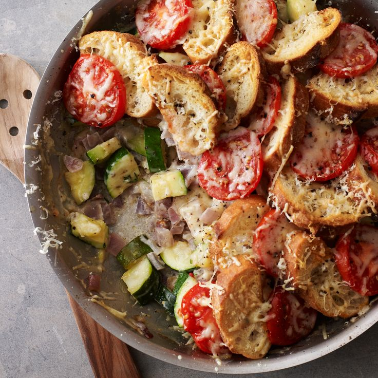 A French take on strata, or savory bread pudding, this simple summer dish contains zucchini, onion and tomatoes layered with slices of baguette, then ...