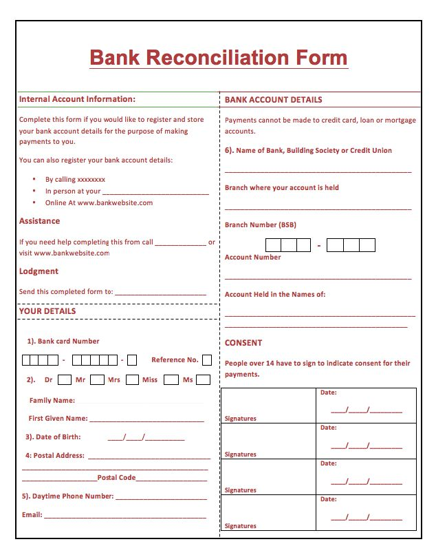 Printable Bank Reconciliation Form -    resumesdesign - blank sponsor form