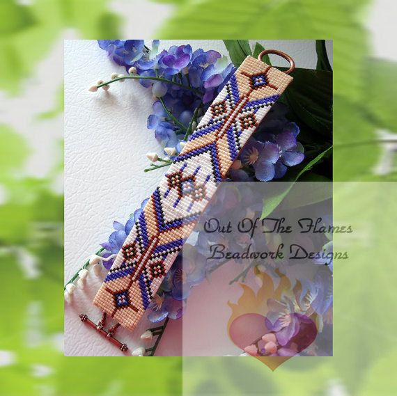 loom beading patterns bracelets   Bead PATTERN Navajo West Cuff Bracelet Loom Or by Outoftheflames