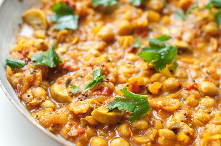 Quick Chana Masala with Mushrooms - Chickpea Curry - Recipe ...