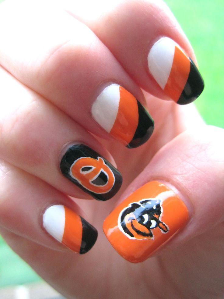 Show your Orioles pride through nail art. #oriolesnails