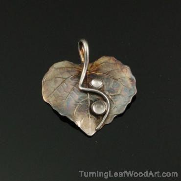 Fine Silver Pendant - Leaf Series w/White Topaz Cabs Pendant:  $173