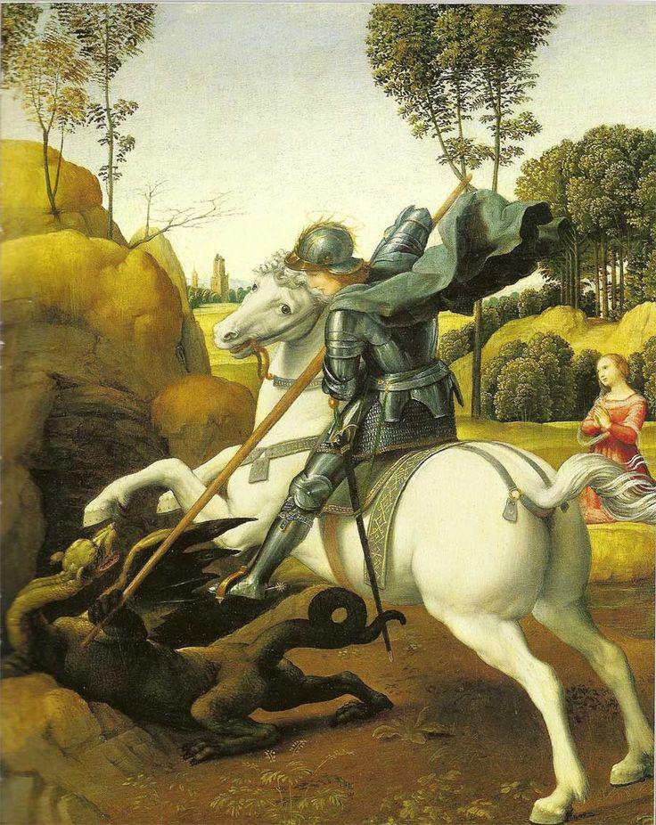 São Jorge e o dragão ( St. George and the dragon ) de Rafael Santi o Sanzio  Washington, DC, National Gallery of Art, Andrew W. Mellon Collection ( aprox. 1504 - 1505 )