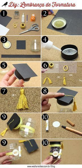DIY: Lembrancinha de Formatura #Table #Covered #Ceiling #Living Room #Couch