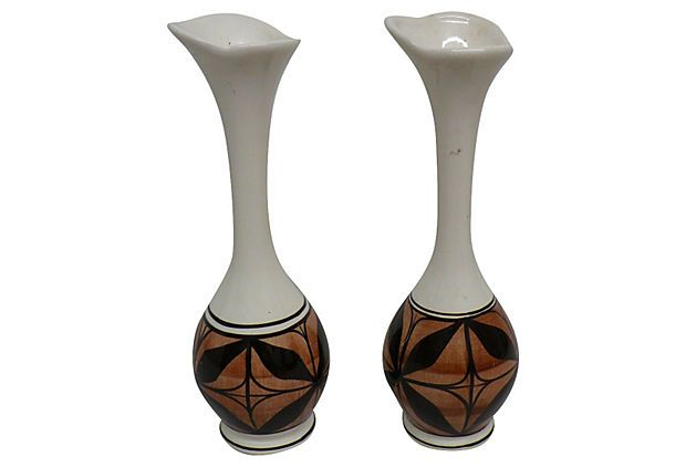 Hand-Decorated Hawaiian Vases, Pair | ACCESSORIES