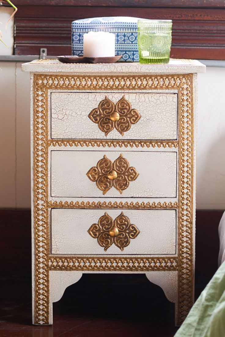 White and Gold 3 Drawer Side Table - Earthbound Trading Company